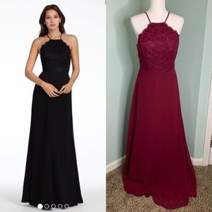 Hayley Paige Occasions Chiffon Halter Lace Gown